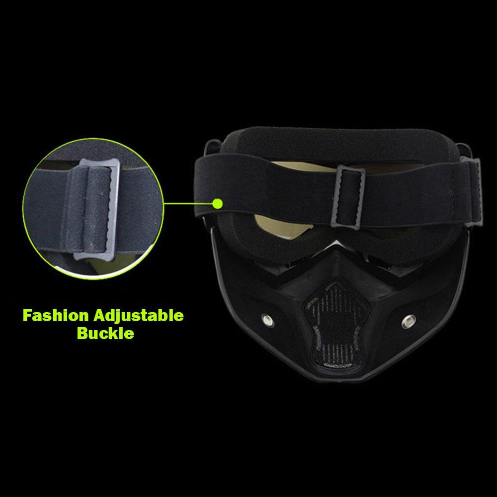 KKmoon Masque de Moto Lunette Cross Country Masque Tactique Windproof Sable Imperm/éable Respirante Equitation Verres