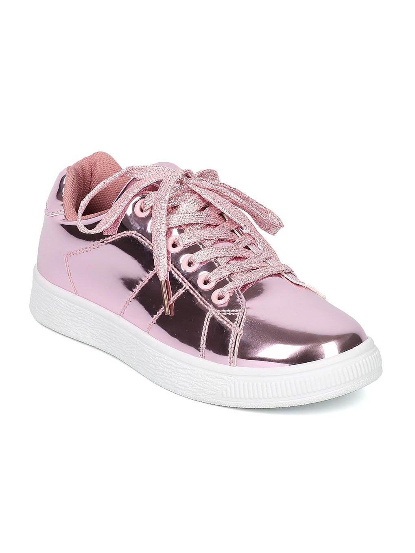 Indulge ANDI Women Mirror Metallic Lace up Low Top Sneaker HB96 B072QKSWR9 10 M US Pink Gold Metallic