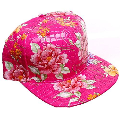 Pink Faux Alligator Floral All Over Print Snapback Baseball Cap