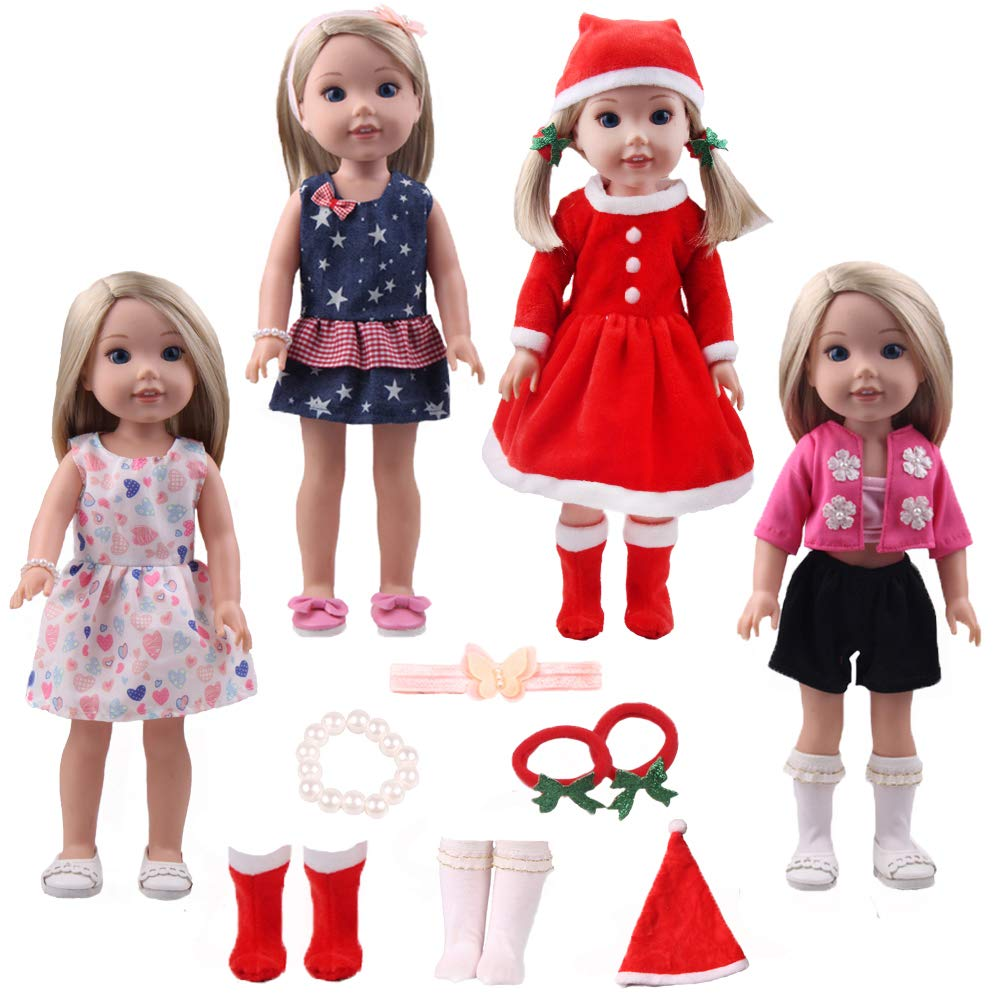 14inch Santa Outfit doll Costume Christmas Dress up Clothes - Including 4sets of complete doll costume + 1 pair of hair terry +1 hair band +1 bracelet accessories fit American Girl Wellie Wishers doll TSQSZ