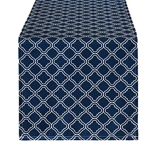 Smurfs Yingda Geometric Lattice Table Runner, Navy Blue Grid Stitching Table Runner, Waterproof Table Runner for Summer Parties, Catering Events and Daily Use, 12