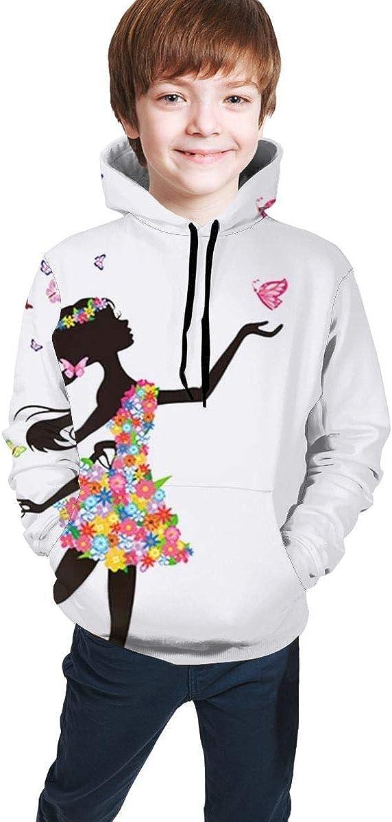 huatongxin M/ädchen mit Blumen und bunten Schmetterlingen Hoodie Sweater Boy Girls Fashion Warm Winter Casual