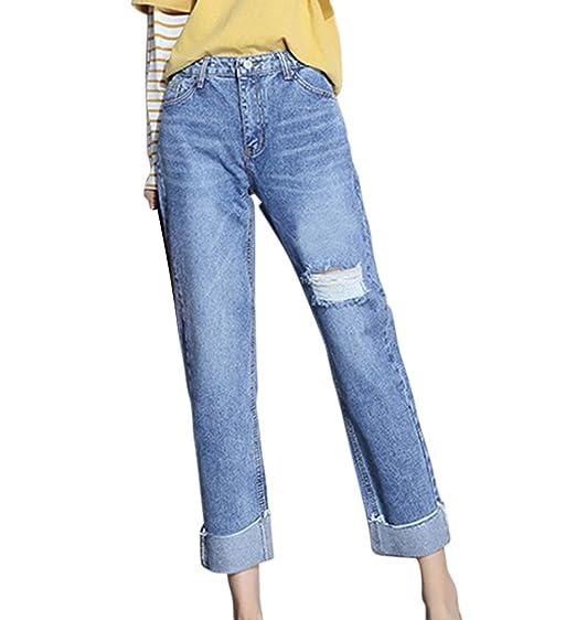 Ripped Boyfriend Taille Haute Baggy Femme Pantalon Élastique Jean 3A54RLqj