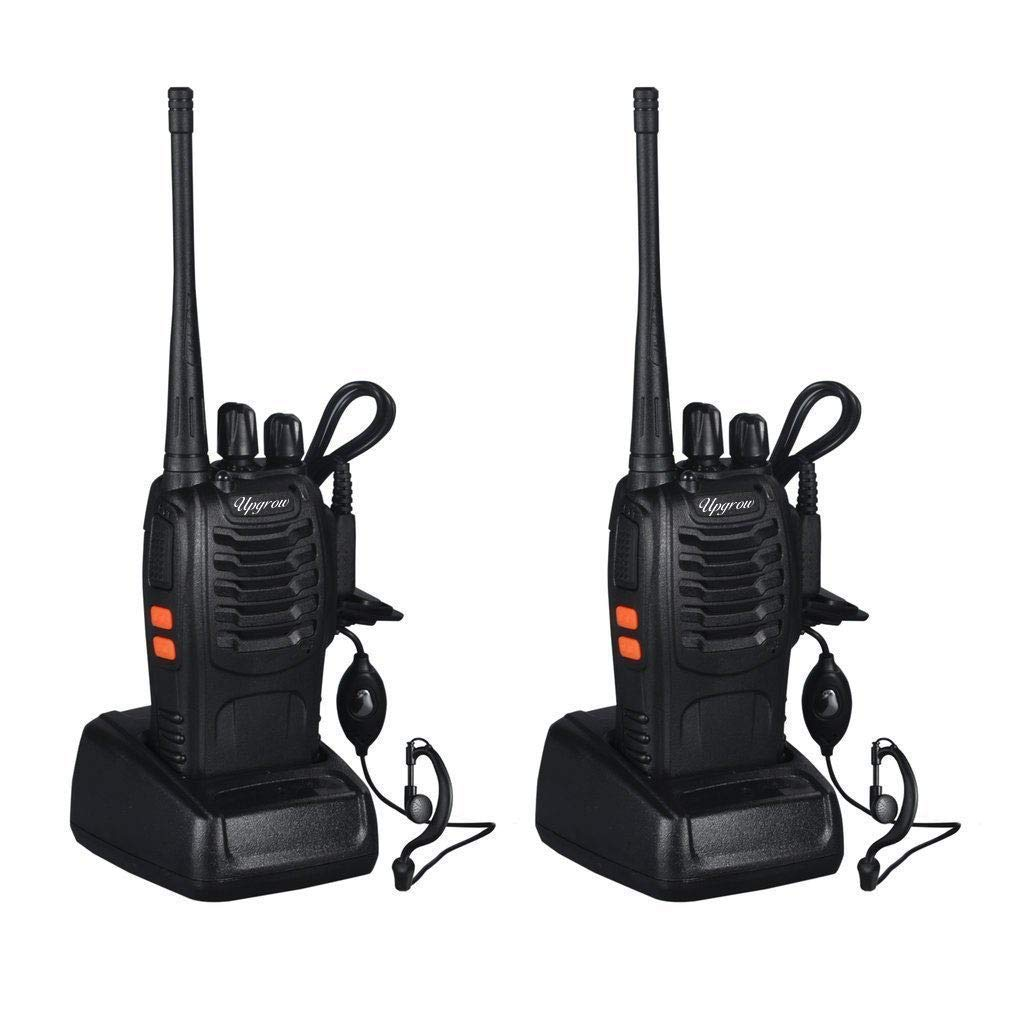 Baofeng Walkie Talkies Rechargable Long Range Walkie Talkie for Adults Two Way Radio Set 16 Channel 5 km Range 400-470MHz Handheld Walky Talky Transceiver with Batteries Earpiece Pack of 2