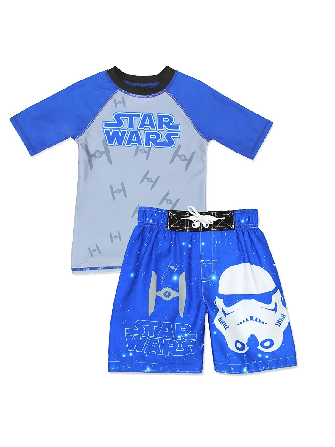 Disney Star Wars Boys First Order Stormtrooper Swim Trunks and Rash Guard Swimsuit Set (4, Blue/Grey)