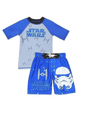 ff33ff17c353d Amazon.com: Star Wars Boys First Order Stormtrooper Swim Trunks and Rash  Guard Swimsuit Set (4, Blue/Grey): Clothing