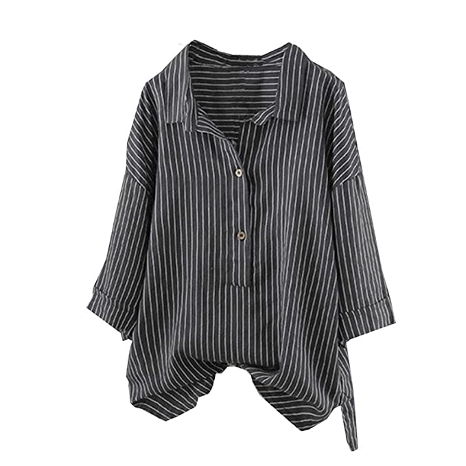 URSING Damen Leinenhemd mit Stehkragen Gestreift Drucken T
