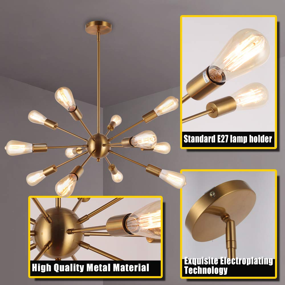 Asvert L/ámpara colgante dorado Sputnik moderna l/ámpara colgante E27 portal/ámparas de lat/ón metal para sal/ón sin bombilla etc. cocina restaurante