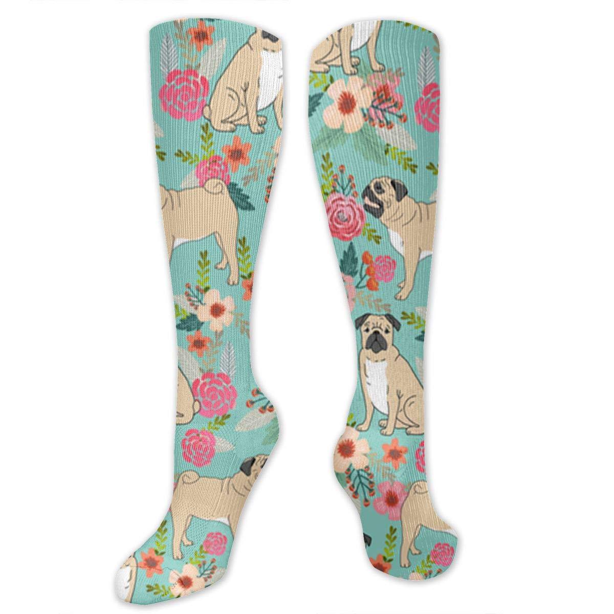 Men Multicolored Pattern Fashionable Fun Crew Cotton Socks Chanwazibibiliu Pug Spring Mint Mens Colorful Dress Socks Funky