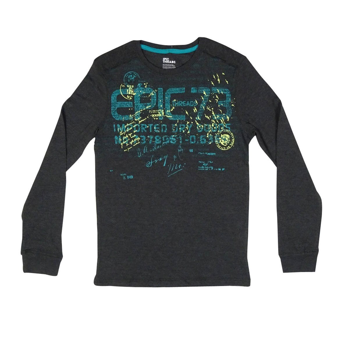 Epic Threads Boys' 'Epic 73' Printed Thermal Shirt (L, Charcoal Heather)