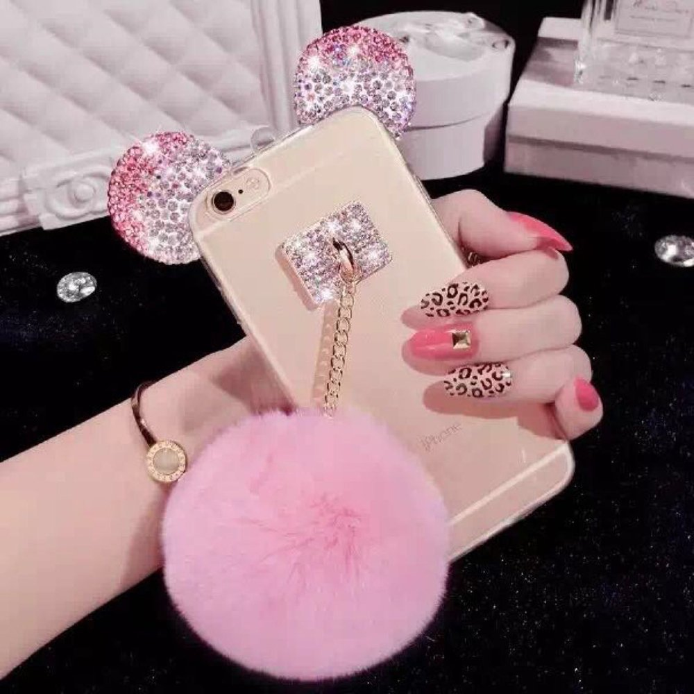 Iphone 5 Case Unifone Mobile New Fashion Design Cute 3d Handmade Diamond Bling Ears With Mobile Phone Hang Rope Metal Buckle Pendant Soft Tpu Clear Cover Case For Iphone 5s Pink