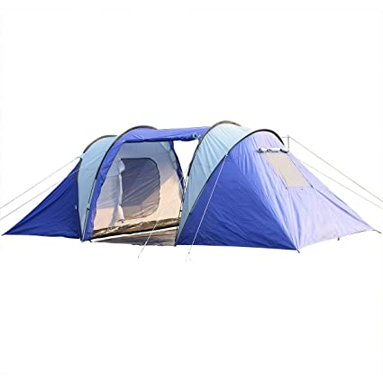 f6e90efac1 Amazon.com : 6-8 Person/man Waterproof Camp 2+1 Room Hiking Camping Tunnel Family  Tent : Sports & Outdoors