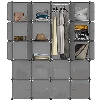 Langria Armoire Penderie 20 Cubes Avec Portes Meuble Separateur De