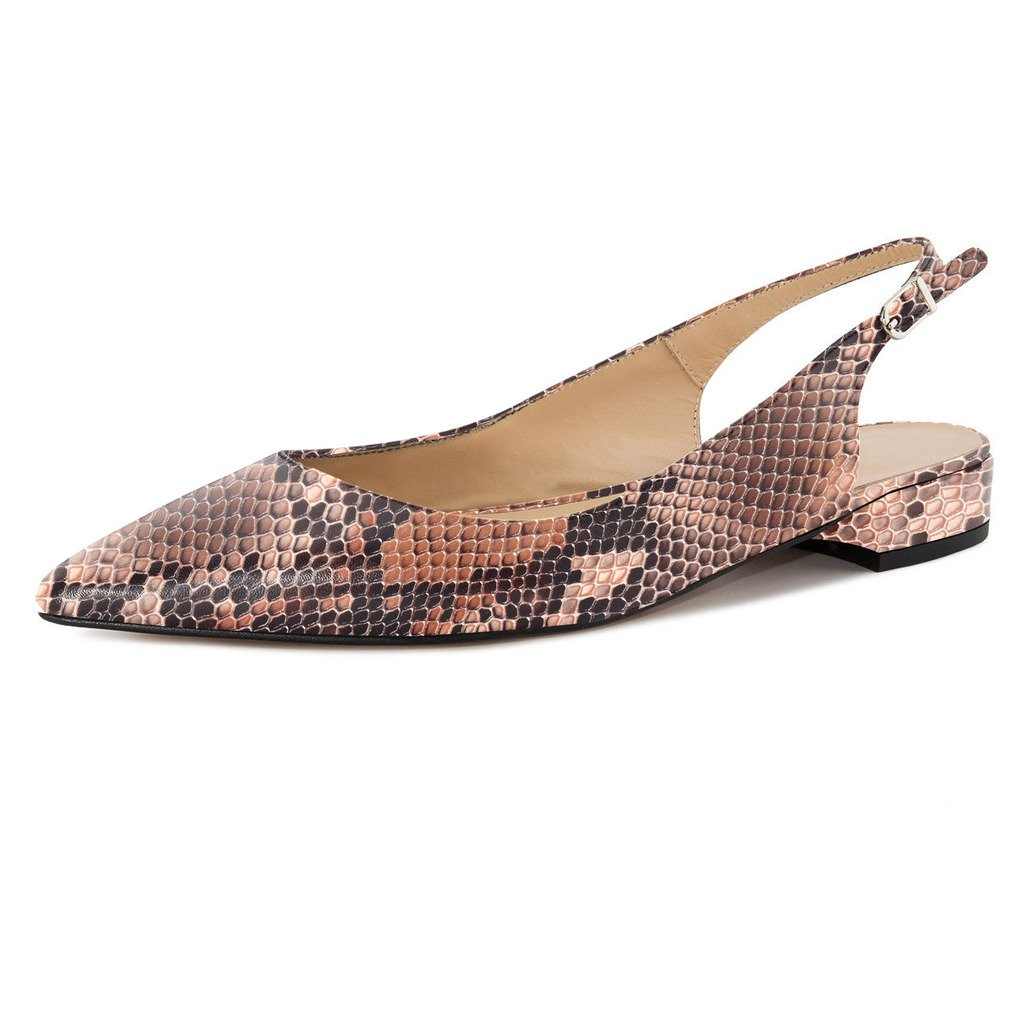 Eldof Women Low Heels Pumps | Pointed Toe Slingback Flat Pumps | 2cm Classic Elegante Court Shoes B07BQXC5X1 11.5 B(M) US|Python-brown