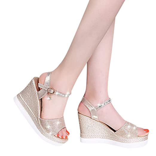 bf04f129f5c Dasuy Women s Crystal Wedding High Shoes Women Flatform Wedge Buckle Ankle  Strap Open Toe Sandals Size