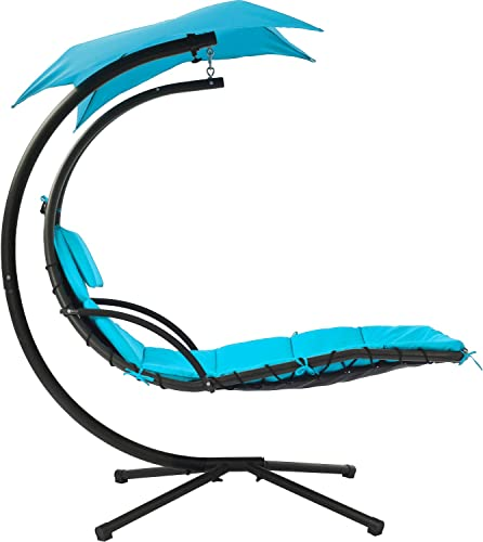 FDW Patio Chair Hanging Chaise Lounger Chair Floating Chaise Canopy Swing Lounge Chair Hammock Arc Stand Air Porch Stand Blue