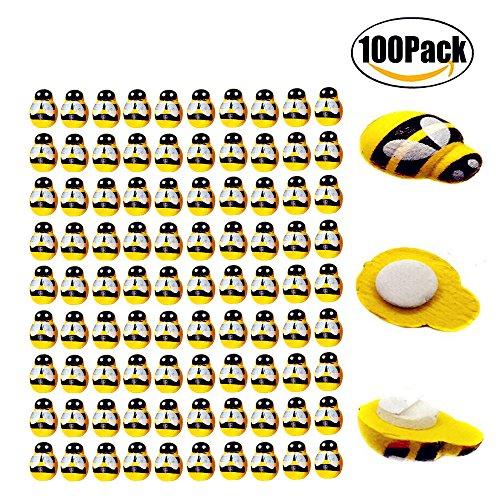 FBAPluto 100 Pack Tiny Wooden Bee Flatback Embellishment for Craft Scrapbooking DIY Decor