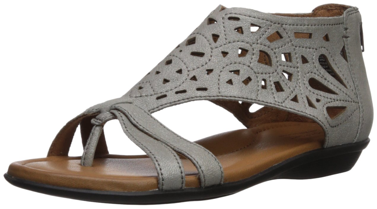 Cobb Hill Women's Jordan Flat Sandal, Brushed Silver, 6.5 C/D US
