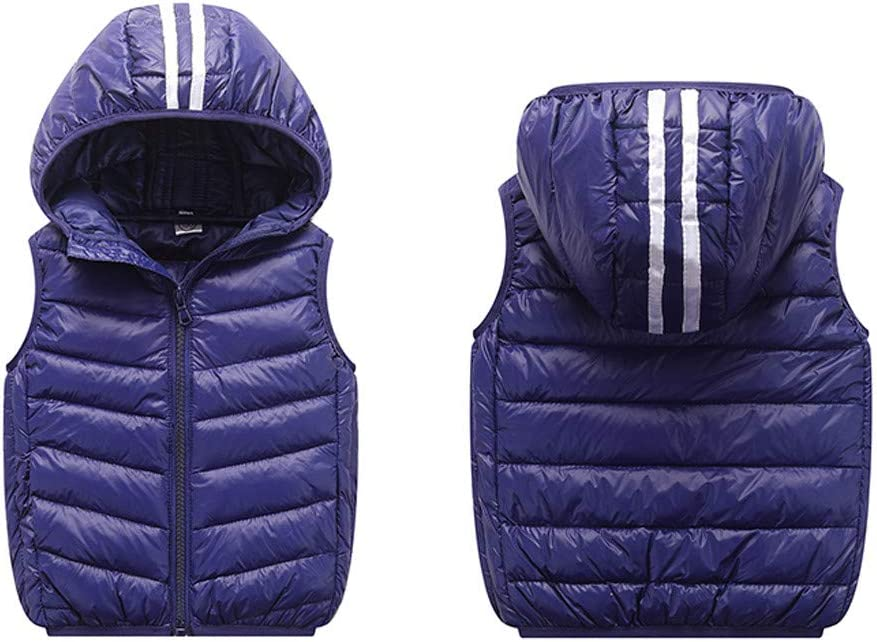 Dacawin Clearance Children Winter Warm Windproof Coats Zipper Hoodie Striped Vest for Girls Boys