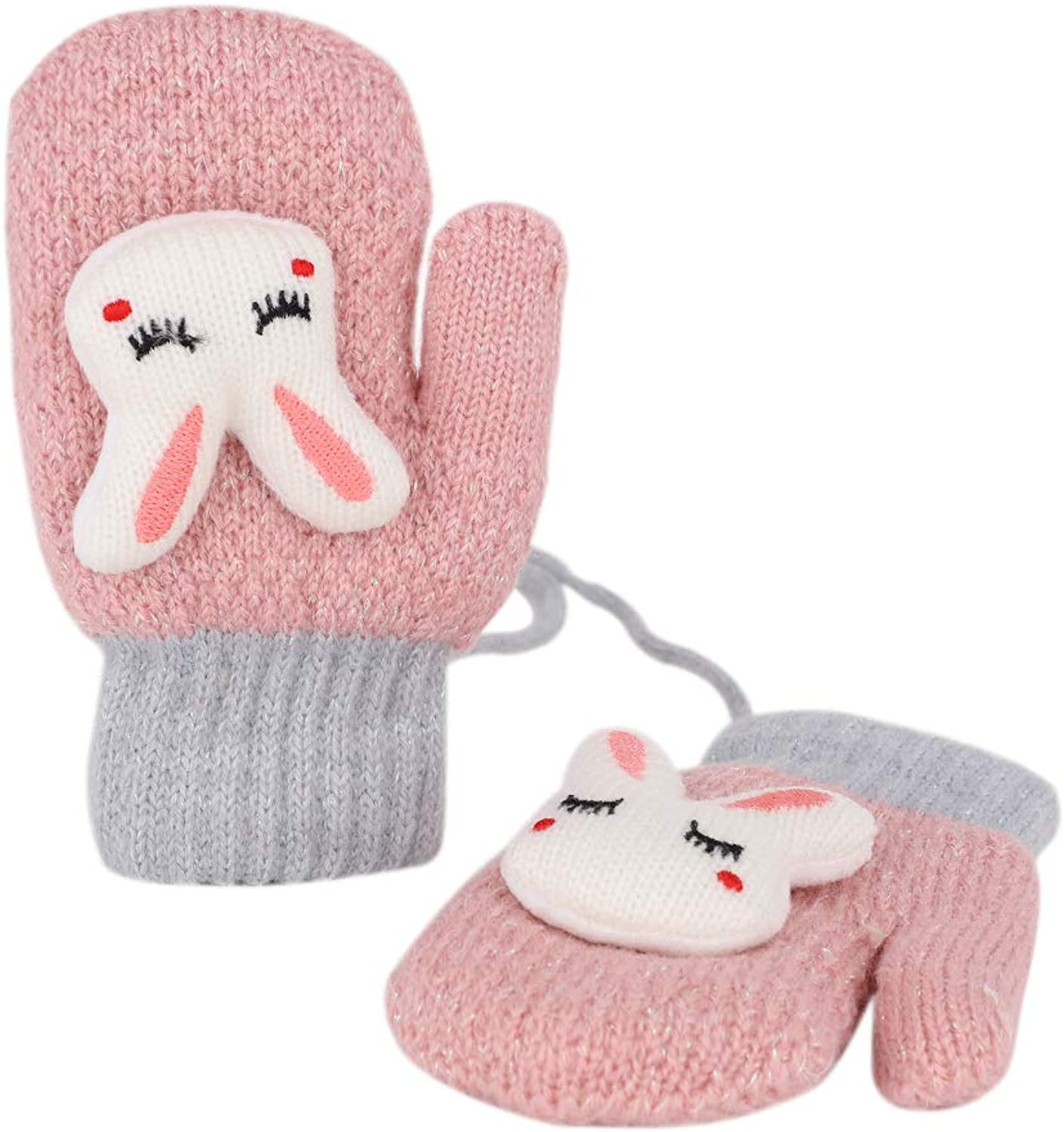 Cartoon Full Finger Fluffy Skiing Mittens Soft Chunky Thermal Mitten Winter Warm Knitted Hand Warmer Christmas Gift for 2-6 Years Kids Fleece Lining Winter Warm Insulated Gloves