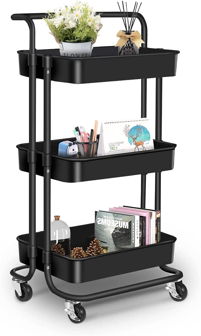 3 Tier Rolling Cart, Rolling Utility Cart with Handle and Lockable Wheels Casters, Storage Trolley Cart for Studio,Kitchen, Bathroom,Living Room