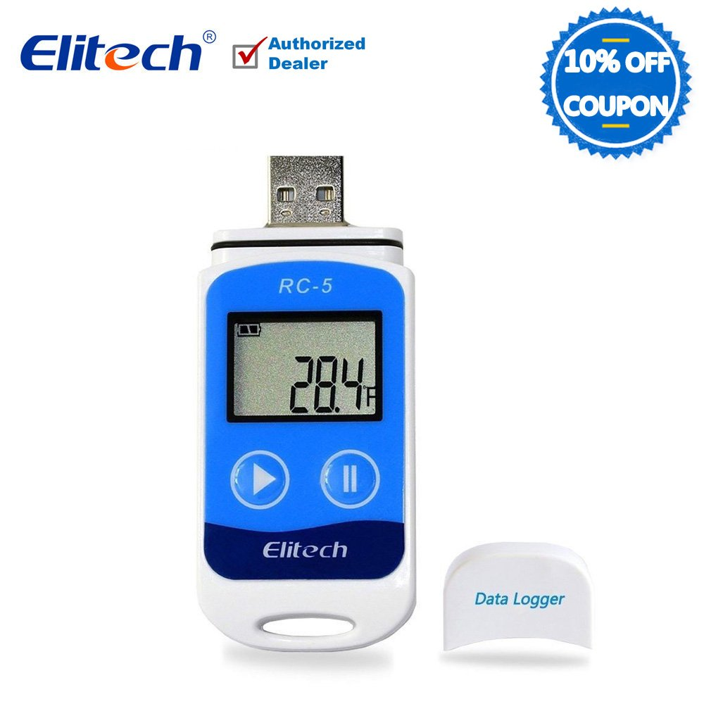 Temperature Data Logger USB Temp Recorder Indicator Thermometer Wireless for Cold Chain 32000 Points Elitech RC-5