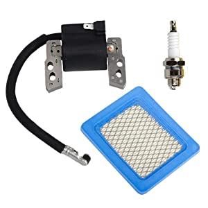 HIFROM Ignition Coil Replaces for Briggs & Stratton 695711 802574 493237 796964 492416 with Air Filter 491588 491588S Spark Plug