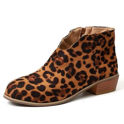 ❤ Botines para Mujer Leopardo,Botas de Gamuza Retro con tacón Cuadrado y Estampado de Leopardo con Cremallera Botas con Punta Redonda Absolute: ...