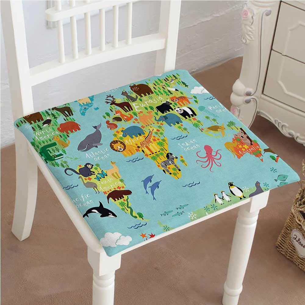 Mikihome Memory Foam Chair Pads Kids Wanderlust Decor Forest Animals Map of The World for Children and Kids Cushion Perfect Indoor/Outdoor 30''x30''x2pcs