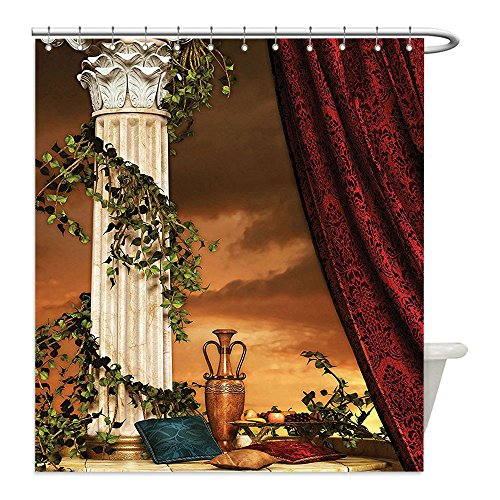 Diy Greek Goddess Costume (Liguo88 Custom Waterproof Bathroom Shower Curtain Polyester Gothic House Decor Greek Style Scene Climber Pillow Fruits Vine and Red Curtain Ancient Goddess Sunset Decor Multi Decorative bathroom)