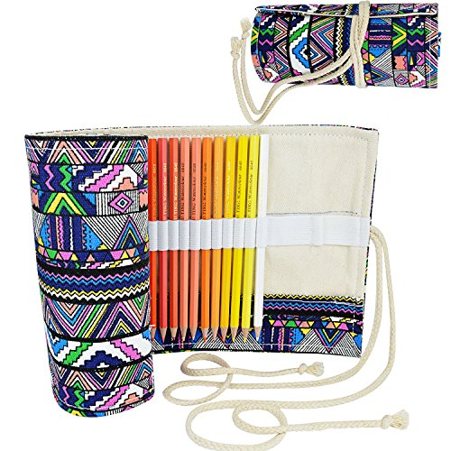 Wrapped Pencil Case - Pistha Canvas Colorful Pencil Wrap Pencil Pouch Pencil Holder with 72 Slots for Holding up to 74 Pencils or Gel Pens and 3 Large Slots for Holding Eraser, Sharpens