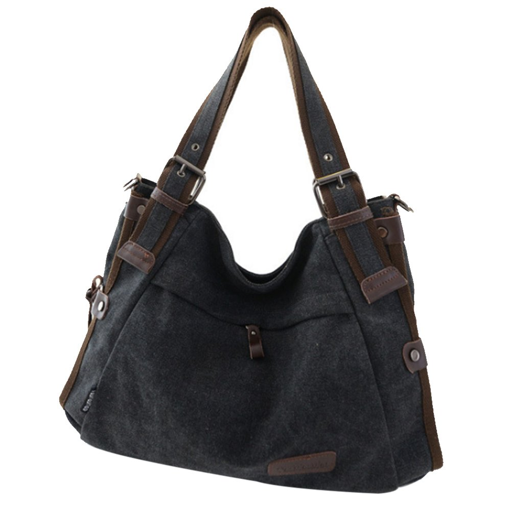 Retro Hobo Style Women's Canvas Casual Handbag Shoulder Bag Messenger Bag Black