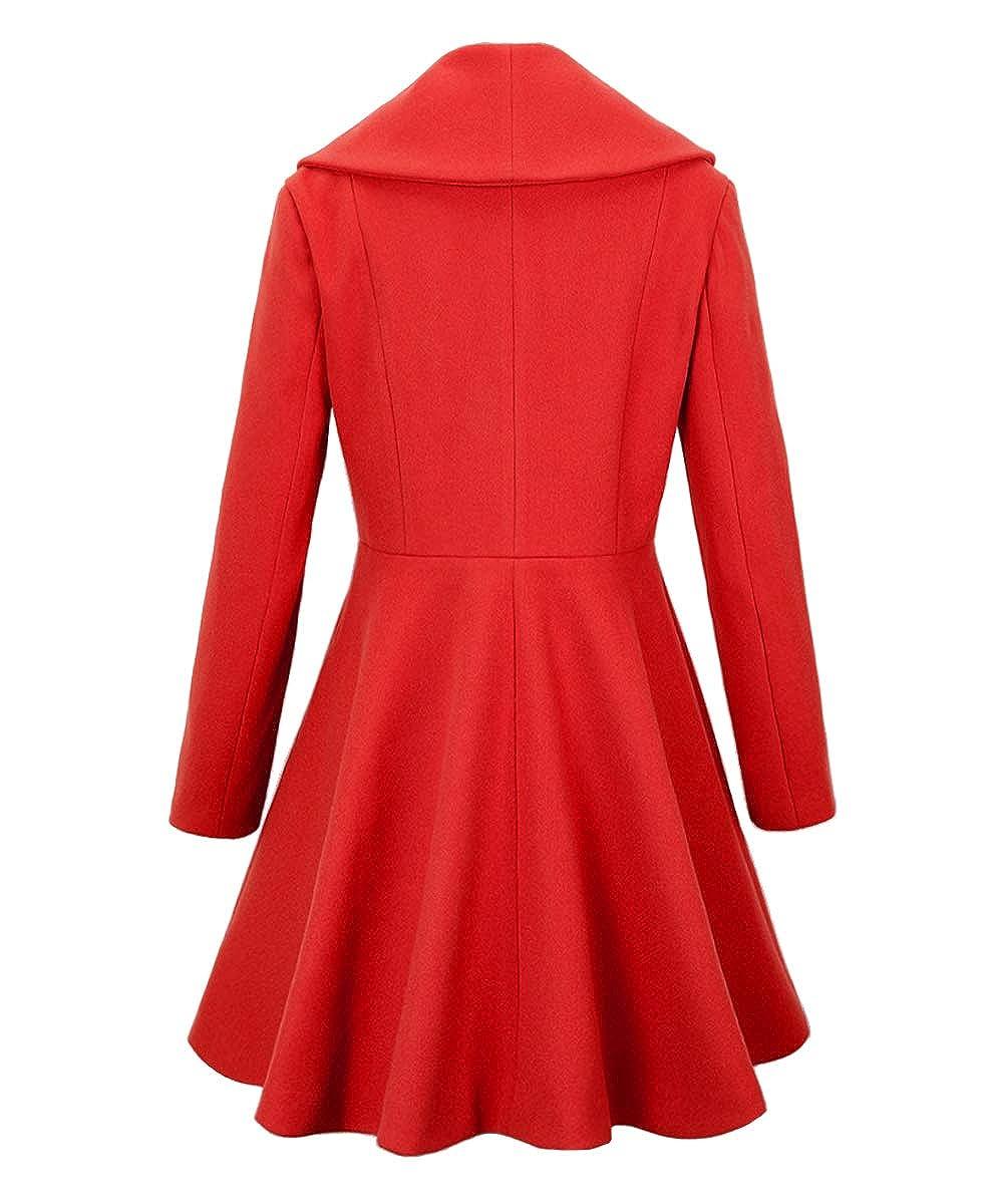 Begonia.K Womens Wool Trench Coat Lapel Wrap Swing Winter Long Overcoat Jacket