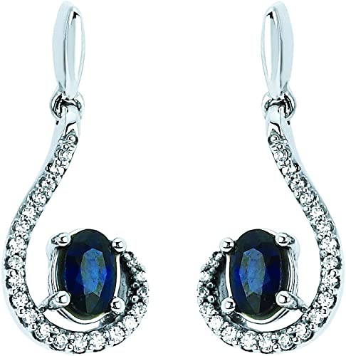 14k White Gold Oval Sapphire And Diamond Wave Earrings