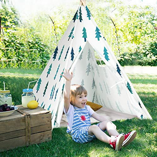 Costzon Kids Teepee Tent, Portable Foldable 100% Cotton Canvas Classic Indian Tent Embroidered with Imaginative Patterns, Sturdy Pine Wood with Window and Carry Bag, White (Tree)