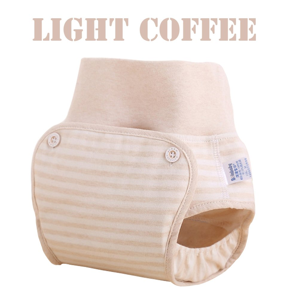 High Waist Baby Pocket Cloth Diaper Covers Navel Protection Leakproof Washable Reusable Diapers for 0-3 Years Infant Toddlers 100% Natural Organic Cotton Nappy (XL)