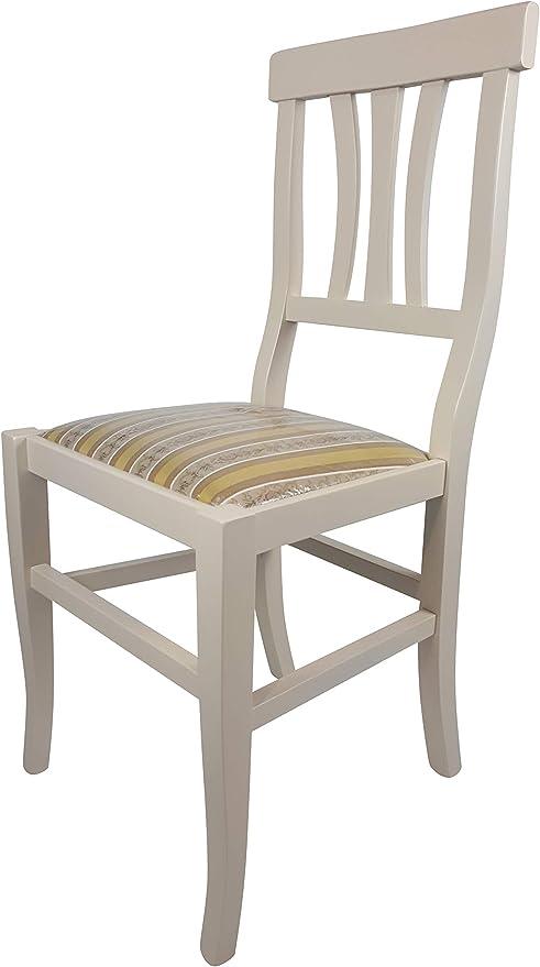Sedia Arte Povera, qualità Top, Diverse sedute e colorazioni, Ordine Minimo 2 Pezzi (Avorio, Imbottita Gialla)