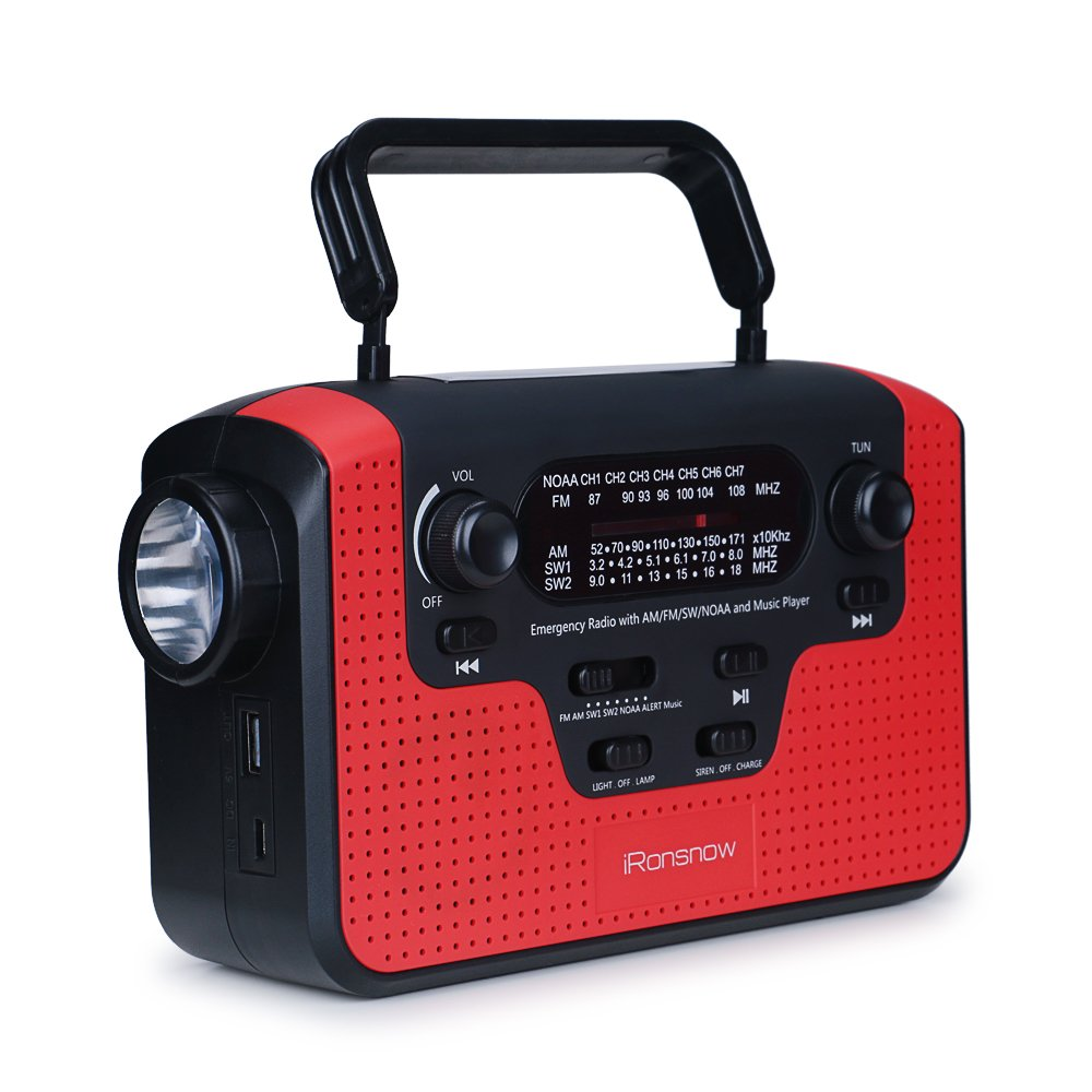 Real Noaa Alert Weather Radio With Alarm Ironsnow Is 388 Electronics Projects For Dummies Solar Hand Crank Emergency Am Fm Sw Wb Tf Card Speaker Led Flashlight Reading Camping Lamp 2300mah Cell Phone Charger