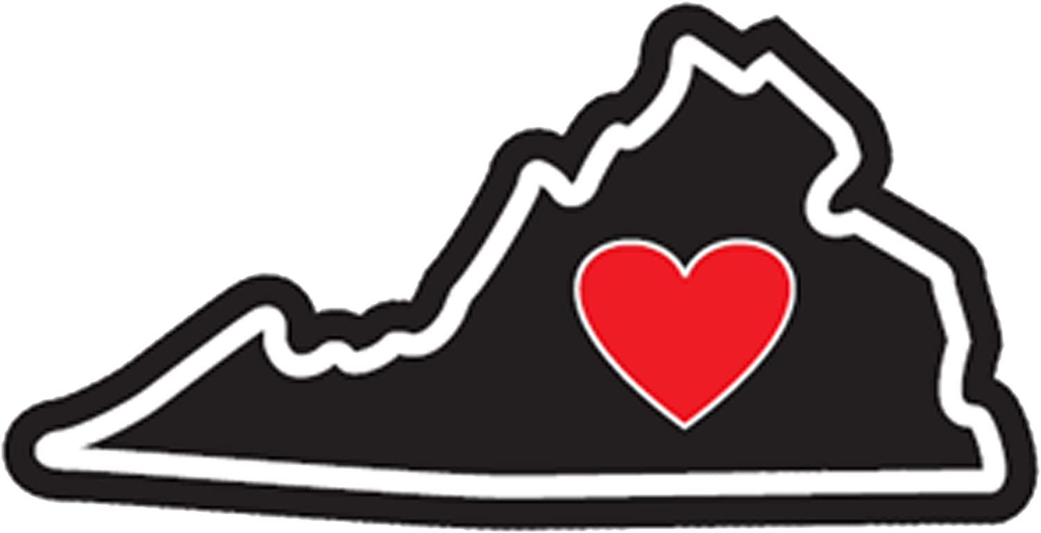 Virginia Sticker Va State Shaped Decal Vinyl Heart Apply To Water Bottle Laptop Cooler Car Truck Bumper Tumbler 804 Roots Virginia is for Lovers