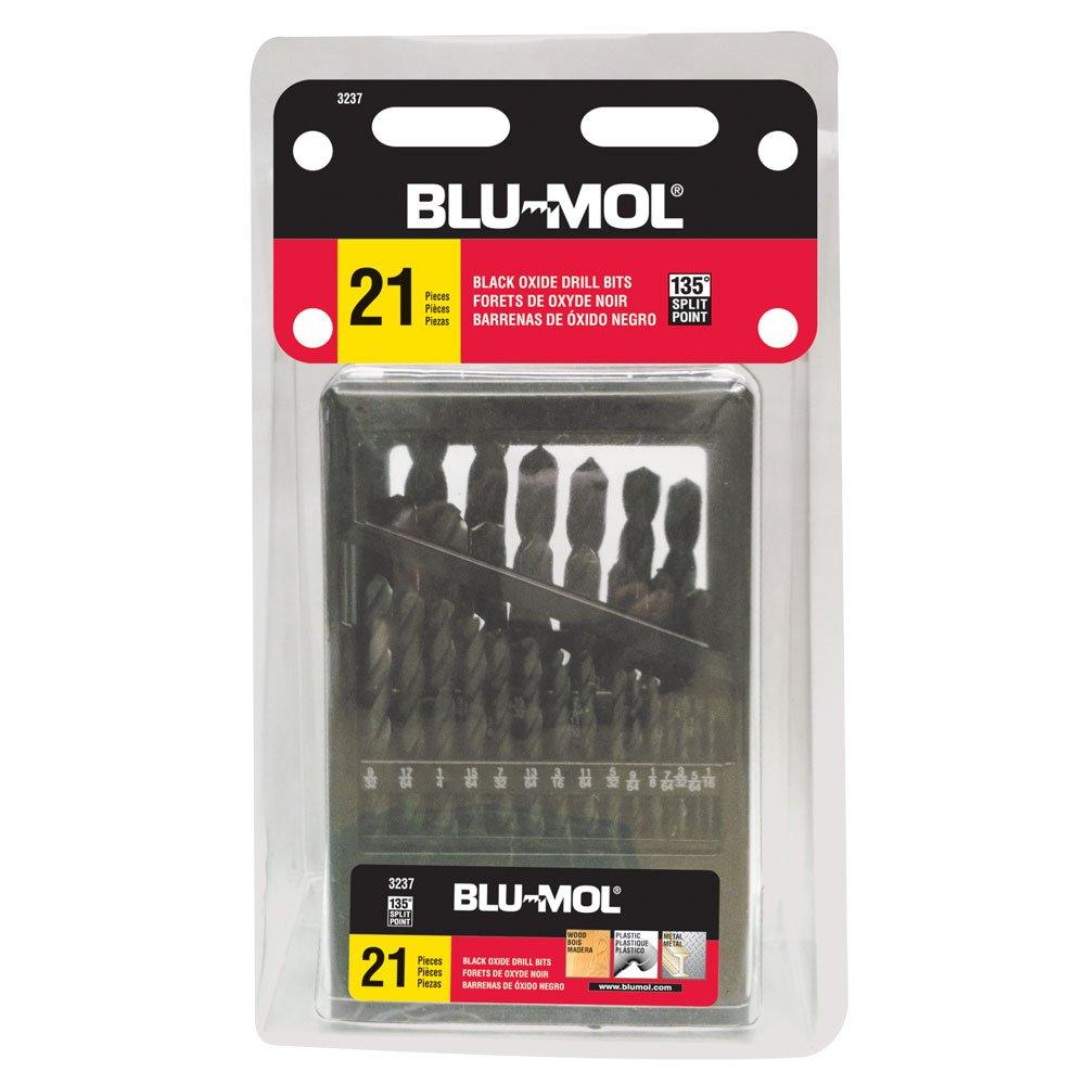 Black Disston E0102599 Blu-Mol Oxide Drill Bit Sets 21pc Set Metal index case