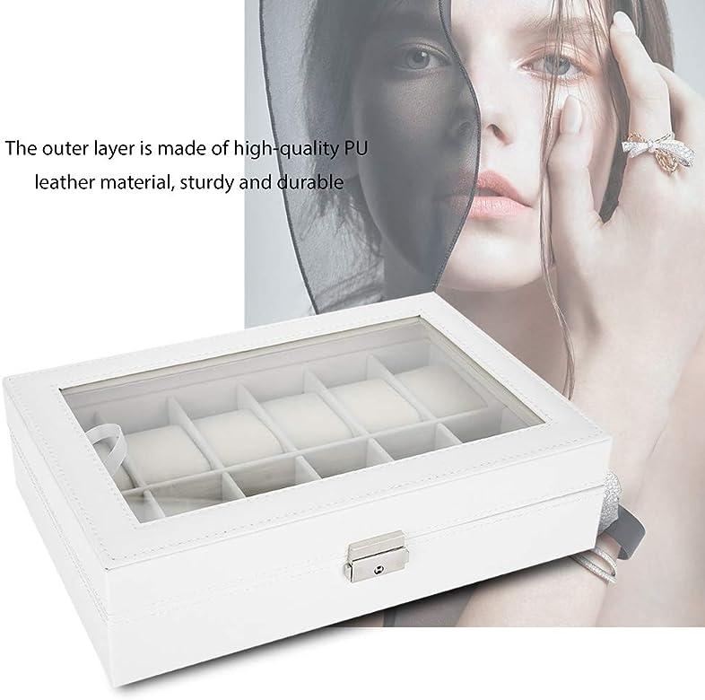Salmue Caja de Relojes Hombre Mujer con 12 Compartimientos, Tapa ...