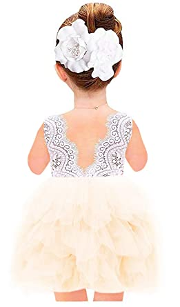 6edbb4f8dab 2Bunnies Girl Beaded Peony Lace Back A-Line Tiered Tutu Tulle Flower Girl  Dress (