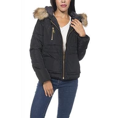 Ideal Shoes by Swan - Anorak épais à capuche avec fourrure Quetty NoirXL  Noir XL 8494b7a2bd82