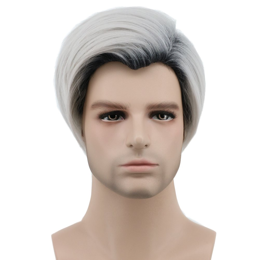 Karlery Mens Short Straight Dark Root White Wig Two Tone Halloween Costume Cosplay Wig by karlery