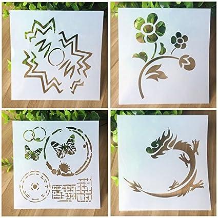 Set de 4pcs Plantillas de Dibujo de Plástico Stencil Scrapbooking Diseño Flores Dragones Mariposas Nubes Para