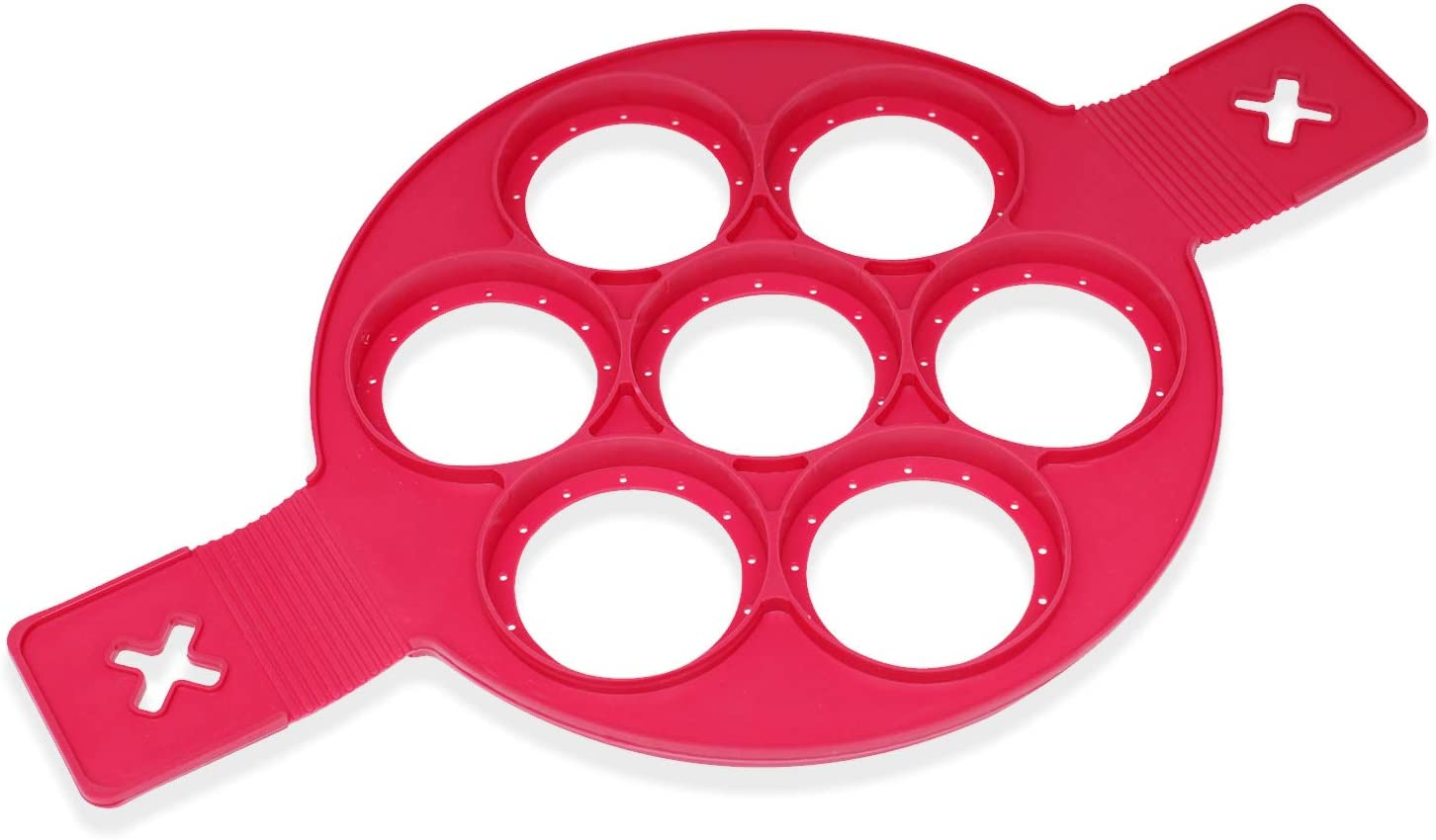 Red Silicone Pancake Mold, Non-Stick 7 Cavity Mini Pancakes Maker and Fried Egg Rings Maker