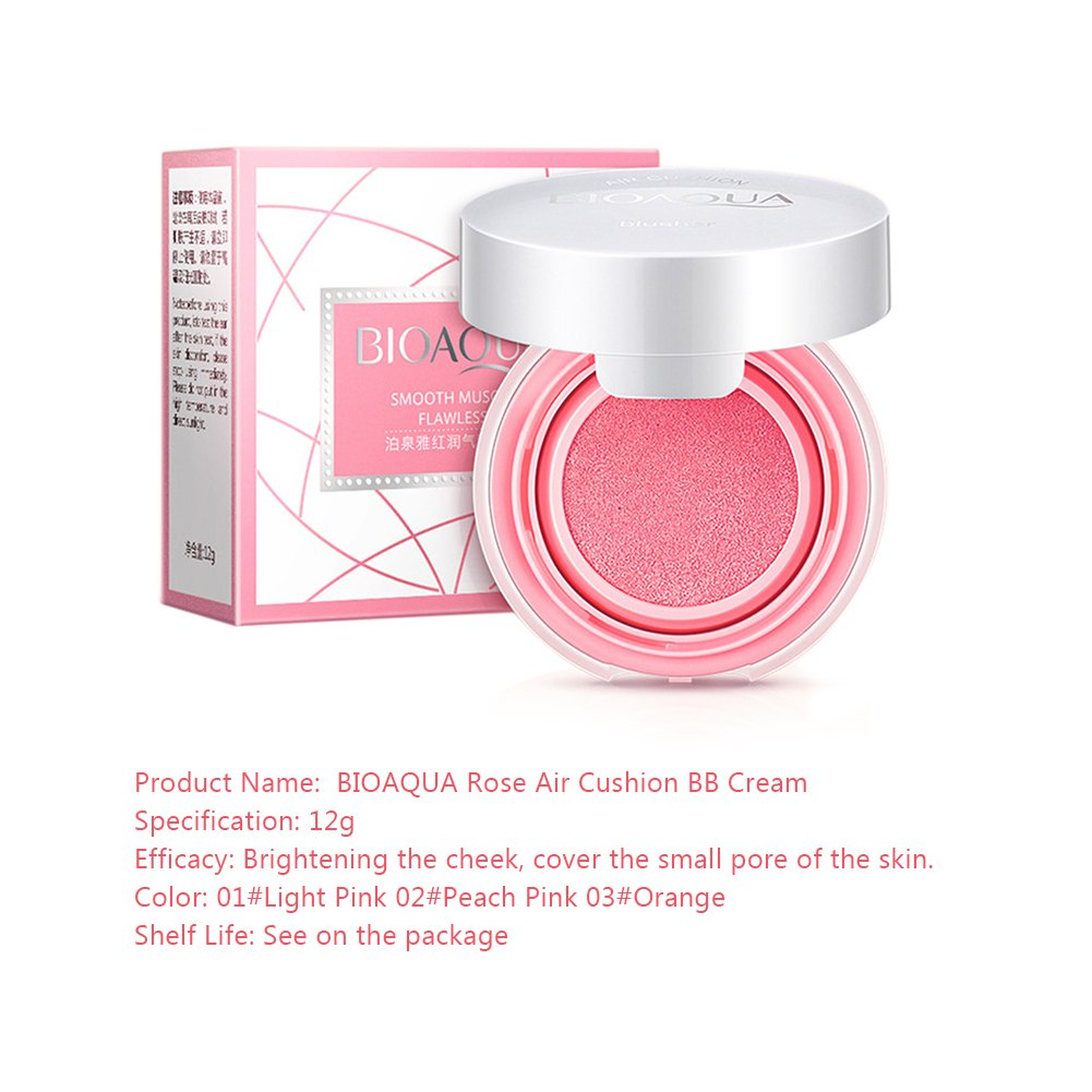 Makeup Air Cushion Compact Natural Blush Cream Blusher Long Lasting BB Cream Paste Nude Makeup Rouge Cream with Sponge Powder Puff and Extra Inner ...