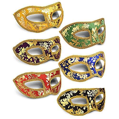 Lainrrew 6 Pcs Unisex Retro Half Masquerade Masks, Mardi Gras Venetian Masks Party Accessory for Parties Carnvials Props Fancy Dress ()
