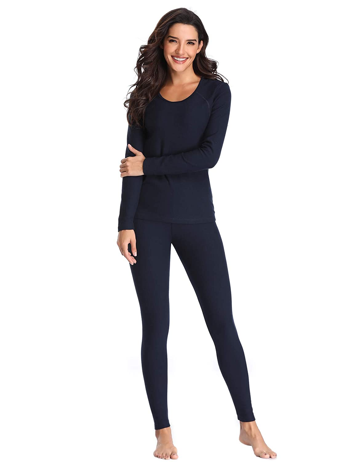 Lusofie Cotton Thermal Underwear Set for Women Long Johns Base Layer Thermals DEATYN1000797