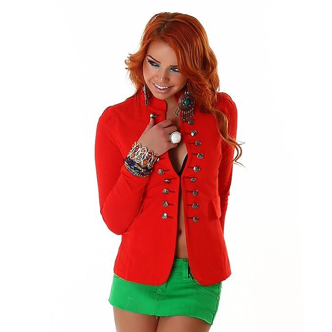 Chaqueta estilo militar mujer roja